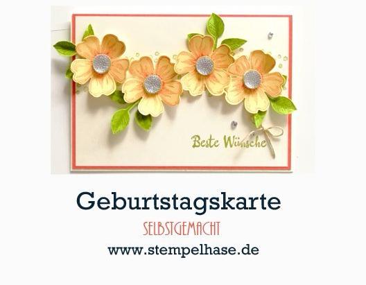 * Werbung * Flower Shop Stiefmuetterchen Stempel von Stampin´ Up! Eine schnell gemachte und einfache #Grußkarte mit dem Stempelset Flower Shop von #SU. Die #DIY Karte ist in Windeseile gebastelt und braucht nicht viel, um als Happy Birthday Geburtstags-Karte zu wirken. Blüten, Blätter und Glitzer schon ist sie fertig. #flowershop #stampinup #happybirthday #geburtstag #karte #DIY #selbstgemacht #blätterzweig #stanze #herbstanfang #stiefmütterchen #stempelhase #bestewünsche #schnellundeinfach