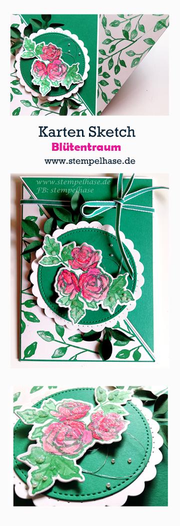 **Werbung ** Heute möchte ich Euch eine Kartengestaltung mit dem Stempelset Blütentraum von Stampin´ Up! zeigen. Diese Karte ist für ein Blog-Hop zum Thema Karten - Sketch entstanden. Da ich nicht viel DSP zu Hause dazu besitze, habe ich kurzerhand mit den Stempeln vom Blütentraum ein DSP gestempelt. Ein Kreis wurde mit den Framelits Stickmuster und einem Wellenkreis gestanzt und natürlich durfte die Blätterstanze nicht fehlen. #stempelhase #pateal #palette #stamp #set #blütentraum